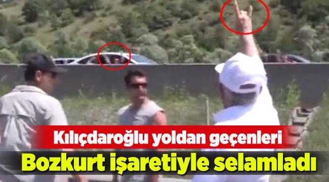 Kılıçdaroğlu yoldan geçenleri Bozkurt işaretiyle selamladı