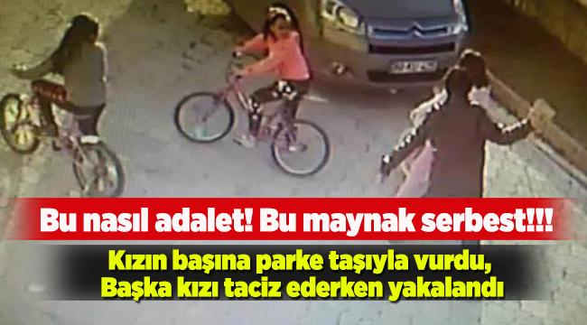 Küçük kızın kafasına parke taşıyla vurdu!