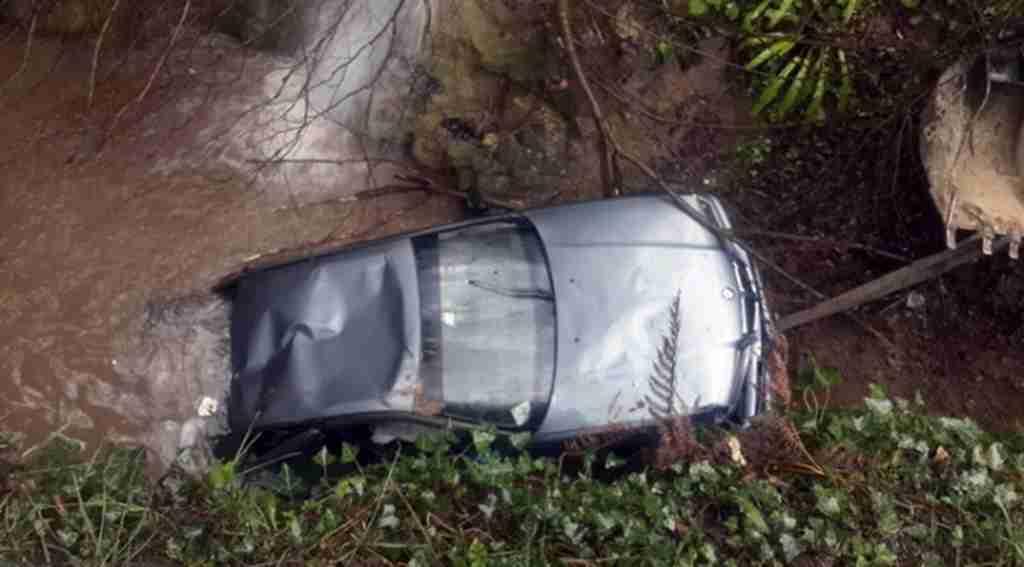 Lüks otomobil dereye uçtu: 4 yaralı
