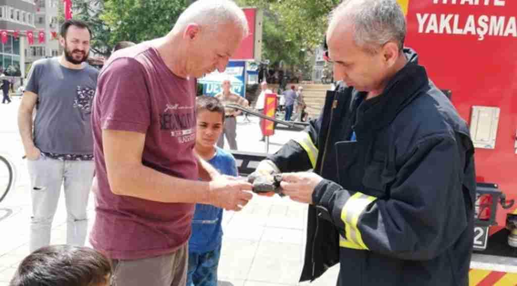 Ağaçta asılı kalan yavruyu itfaiye kurtardı - Bursa Haberleri
