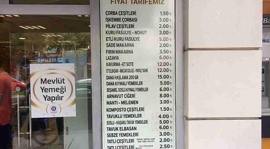 Esnaf lokantasında fiyat listesini gören şok oluyor...
