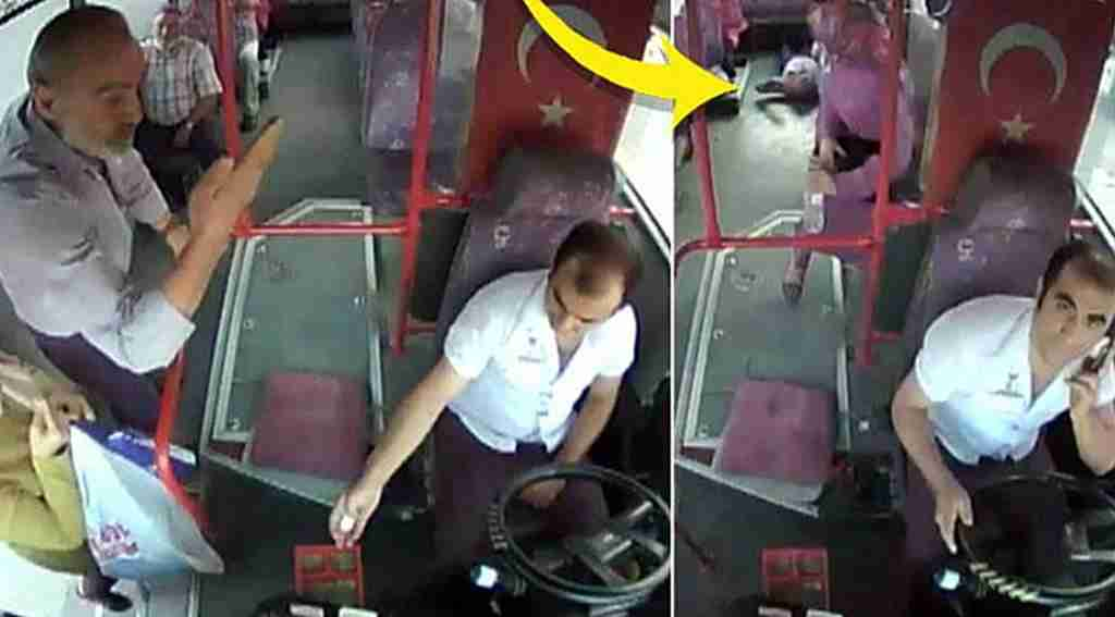Yardımına tartıştığı otobüs şoförü koştu