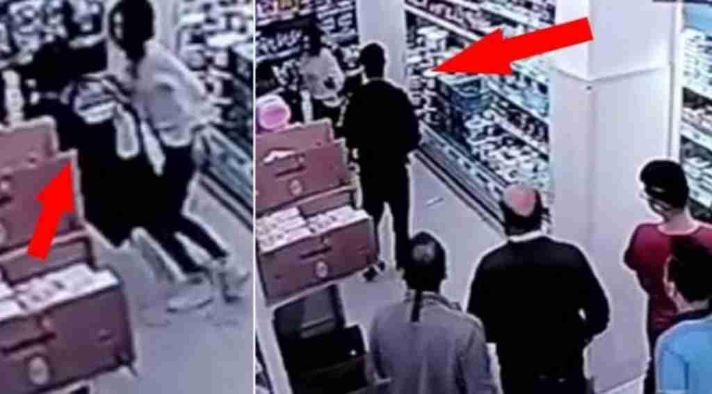 Markette genç kızı dövdü, herkes izledi