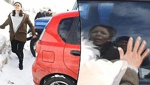 Cipin çarptığı otomobildeki kadın yola savruldu, çocuğu için koştu