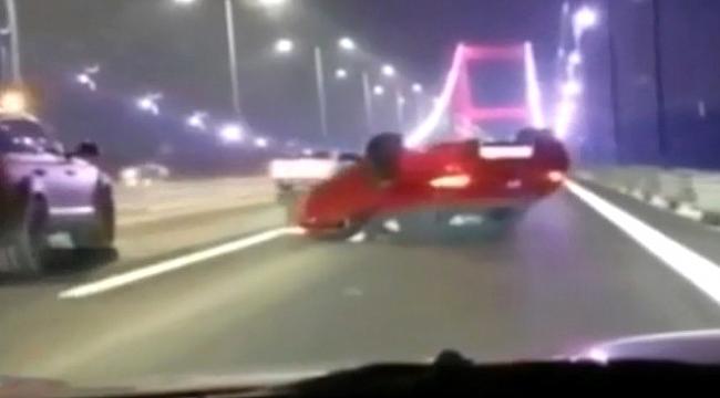 Köprüde makas atarken kaza yapan magandaya şaka gibi kaza