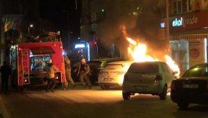 Korku dolu anlar... Otomobil alev alev yandı