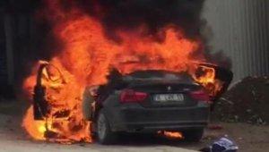 Motorundan alev alan LPG'li otomobil yandı - Bursa Haberleri