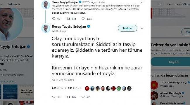 """Erdoğan: """"Şiddeti asla tasvip edemeyiz"""""""