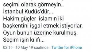 """Ağrı Belediye Başkanı Sayan:""""İstanbul Kudüs'dür"""""""
