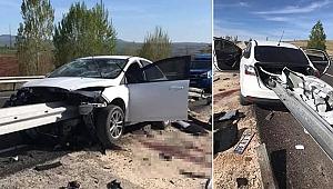 Korkunç kaza... Bariyerde ok gibi saplandı, sürücünün bacağı koptu