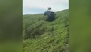 Arazi aracı takla attı... Sürücü fırladı