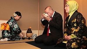 Cumhurbaşkanı Erdoğan'ın Japonya'da katıldığı çay seremonisinde ilginç anlar