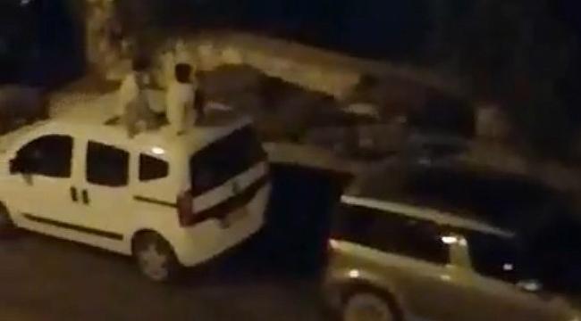 Domuz sürüsü şehre indi, korkan çocuklar araçların üzerine çıktı