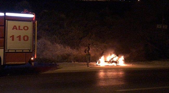 Motosikleti arıza yapınca sinirlenip ateşe verdi