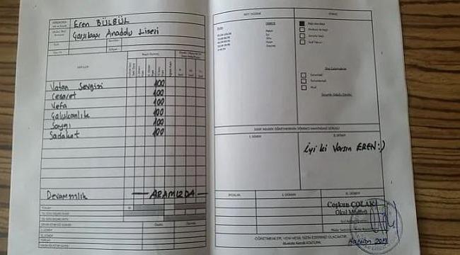 Sosyal medyada en çok Şehit Eren Bülbül'ün karnesi paylaşıldı