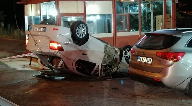 Takla atan araçtaki sürücüyü itfaiye kurtardı