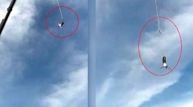 İp koptu, 92 metreden kafa üstü mindere çakıldı