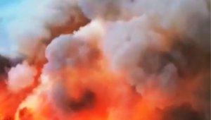 Muğla'nın ciğerlerini yakan yangın havadan görüntülendi