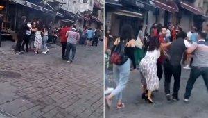 Taksim'de kadınlı ve erkekli kavga