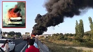 Bursa, İzmir yolunda Bir yolcu otobüsü daha alev alev yandı