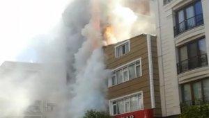 6 katlı bina alev alev yandı