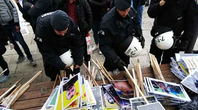 Almanya'da terör örgütü yandaşlarının yürüyüşünde paçavralar toplandı