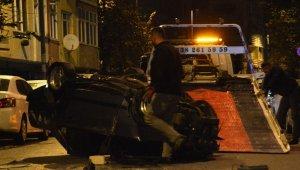 Otomobil ile polisten kaçmak istedi, 1 jip 5 otomobile çarpıp takla attı
