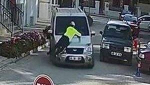 Polisi aracın kaputunda sürükleyen alkollü sürücü tutuklandı