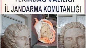 Tekirdağ'da Roma dönemine ait heykel başı ele geçirildi: 8 gözaltı