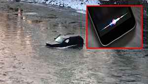 Buz tutmuş nehre düşen genci Apple'ın