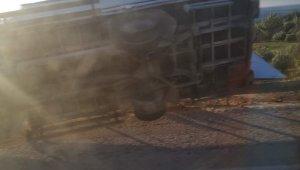 Şiddetli fırtınada kamyonet devrildi: 1 ölü, 1 yaralı