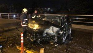 Ankara'da hurdaya dönen otomobilden yaralı kurtuldu