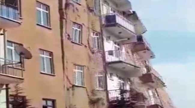 Bugünkü depremde hasarlı bina çöktü... Faciadan dönüldü