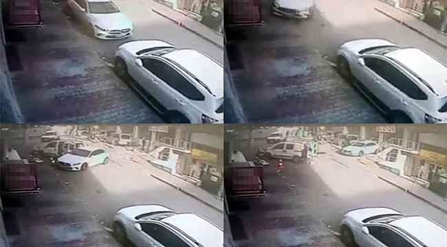 Fren yerine gaza basan sürücü önce araçlara çarptı ardından kaldırıma çıktı