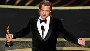 İlk Oscar'ını alan Brad Pitt'ten Trump'a gönderme