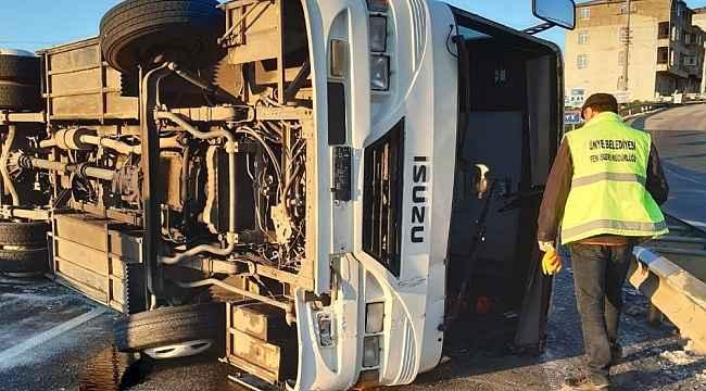 İşçi servisi kaza yaptı: 12 yaralı