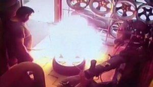 İstanbul'da oto tamircide patlayan nitrojen dolu lastik kamerada