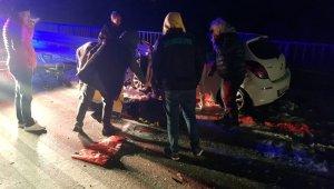 Otomobil ile kamyon çarpıtı: 2 yaralı