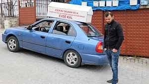 Aracına bağladığı tabutla 'evde kal' çağrısı yapan sürücüye ceza