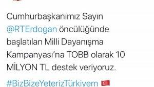 """Hisarcıklıoğlu'ndan """"Biz Bize Yeteriz Türkiyem"""" kampanyasına destek"""