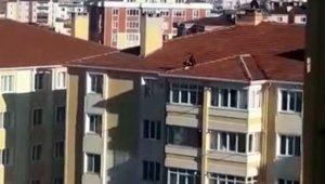 7 katlı binanın çatısına çıkan çocuk yürekli ağza getirdi
