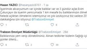 İş yerinin akvaryumundaki balıklarına yem vermek için Trabzon Emniyeti'nden yardım istedi