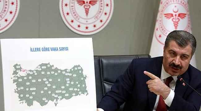 Koca, Türkiye'deki korona vaka sayılarını gösteren haritayı paylaştı