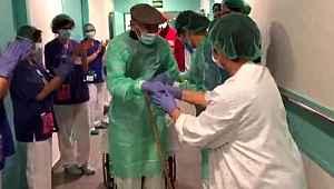 Koronavirüsü yenen 93 yaşındaki hasta, alkışlarla taburcu oldu