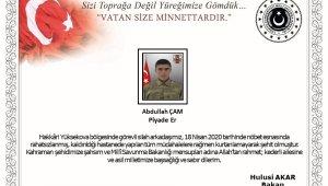 Milli Savunma Bakanı Hulusi Akar'dan Hakkari'de şehit olan askerimiz için başsağlığı mesajı