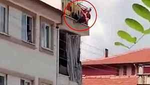 Boğazına hortum bağlayıp intihara kalkışan şahıs 10 metreden aşağı böyle düştü