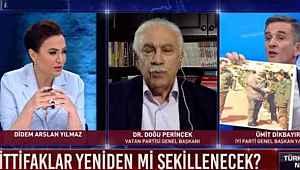 Canlı yayında Perinçek'e Öcalan'la çekilen fotoğraflarını gösterdi