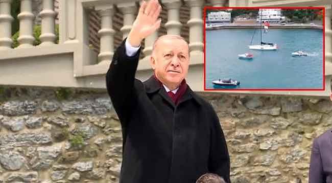 İstanbul'un Fethi'nin yıl dönümü kapsamında Boğaz'dan geçen yelkenliler Cumhurbaşkanı'nı selamladı
