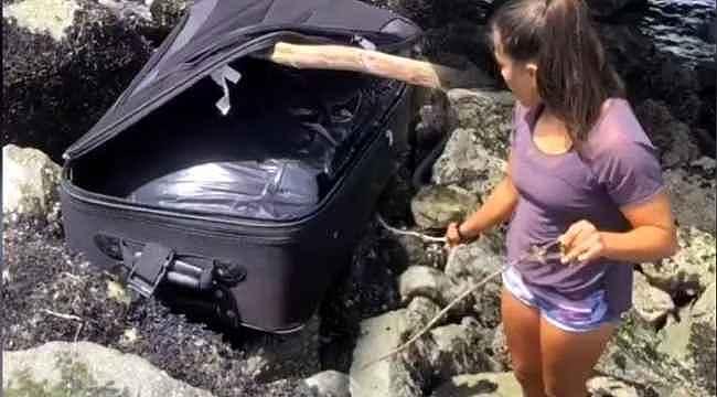Gençler kayalıklarda buldukları valizi açınca hemen polisi aradı