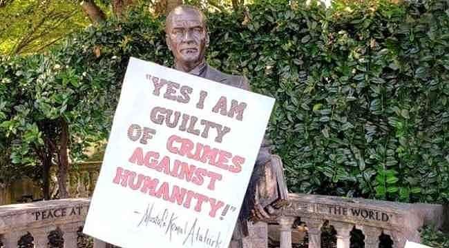 Özgürlükler' ülkesinin başkentinde Atatürk'e büyük saygısızlık